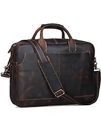 "Genuine Leather Men's Briefcase Messenger Tote Bag Fit 17"" Laptop"
