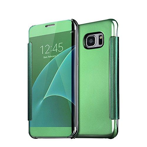Samsung Galaxy J7 2017 Funda Espejo, Samsung Galaxy J7 2017 Funda libro, SXUUXB Creativo Maquillaje Diseño Ultra Fina Claro Vista Cuero Billetera Carcasa Enchapado Parachoque Mirror Superficie Antigol Verde