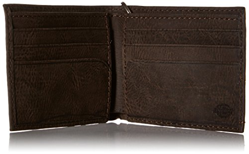 Dickies Men's Slimfold Wallet,Brown with Chain