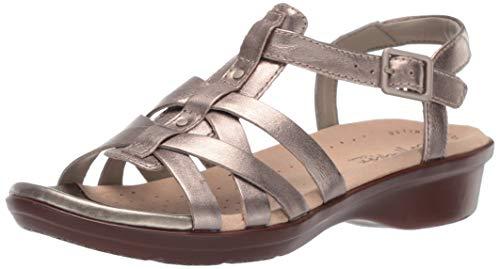 CLARKS Women's Loomis Katey Sandal Pewter Metallic Leather 070 M US