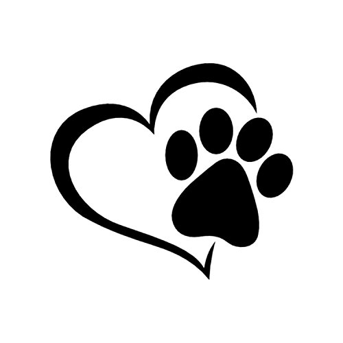 Dog Paw w/Heart Black Vinyl Window SUV Auto Truck Decal Puppy Dog Lab Cat Pet Rescue Waterproof Bumper Sticker Size: 4.3