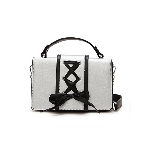 Decoración Shoulder Bag Bag Messenger Ocio Simple Cinta Square Plata Magnética PU Retro qTw4t