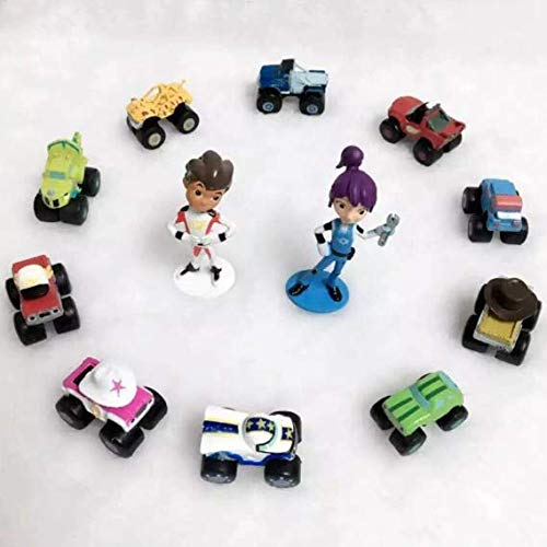 Blaze and the Monster Machines Toppers - Premium Cake Topper Figurines - Monster Trucks Cake Décor - Blaze Kids Party - Set of 12 Cake Toy Toppers + Magnet Bonus - Party Favors & Cake Ornaments