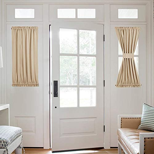 NICETOWN Side Lights Front Door Curtain - Entry Way Decor Room Darkening French Sliding Door Thermal Privacy Window Treatment Drapery (25 inches Width x 40 inches Length, Biscotti Beige, 1 Panel)
