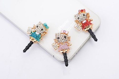 CJB Lovely Crystal Rhinestones Hello Kitty Blue Body Earphone Jack/Dust Plug for Iphone 4, 4s, Samsung / HTC / All Device with 3.5mm Jack pink (US seller)