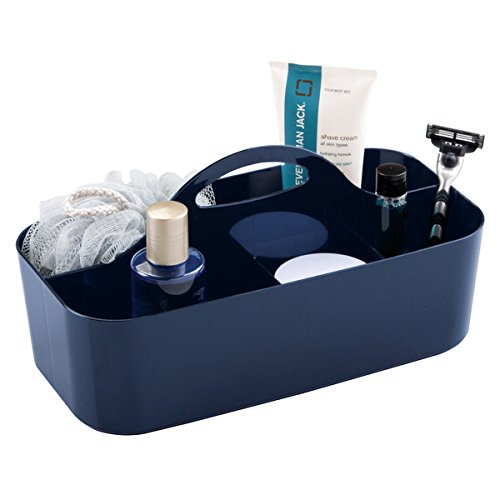 mDesign Plastic Portable Storage Organizer Utility Caddy Tote, Divided Basket Bin with Handle, for Bathroom, Dorm Room - Holds Hand Soap, Body Wash, Shampoo, Conditioner, Lotion - Large, Navy Blue