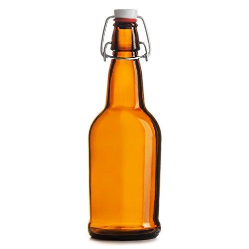 Chef's Star Easy Cap Beer Bottles, 16 oz, Pack of 6, Amber