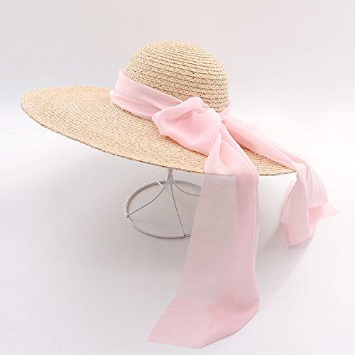 e085e591 ALWLJ Wide Brim Raffia Straw Hats For Women Fashion Summer Beach Hats With  Chiffon Ties Sun Floppy Hat,Pink: Amazon.co.uk: Sports & Outdoors