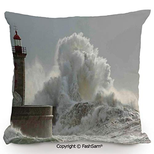FashSam Home Super Soft Throw Pillow Big Waves in a Sunny Storm Portuguese North Coast Catastrophe Disaster Beacon for Sofa Couch or Bed(18