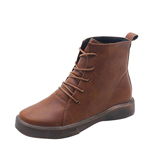 TPulling Herbst Winter Schuhe Mode Stylische Retro Damen Stiefel Banded Kaschmir Warm Stiefel Braun