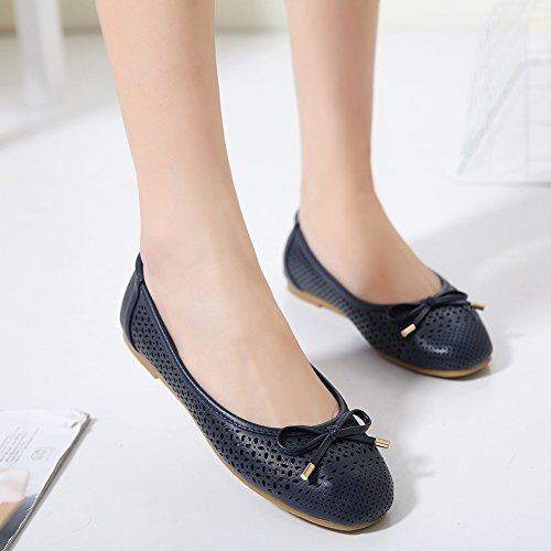 On Dress Bow Shoes Meeshine Soft Slip Flat Blue Navy Women Ballerina Perforated Cut 5RwUB0qw