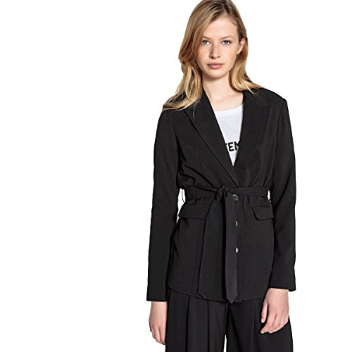 La Redoute Collections Womens Belted Mid-Length Tailored Jacket Black Size US 6 - FR 36