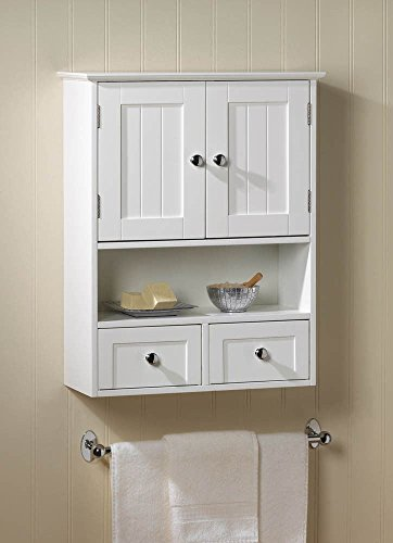 NANTUCKET STYLE STORAGE WALL CABINET WITH DRAWER WHITE BATH DECOR (Wall Mount Curio Cabinets)