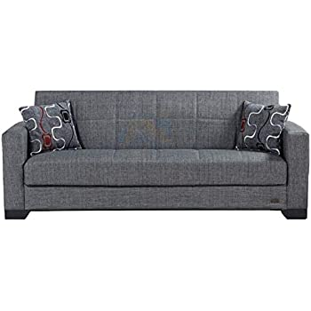 BEYAN SB 2019 Gray Vermont Modern Chenille Fabric Upholstered Convertible Sofa Bed with Storage, 84