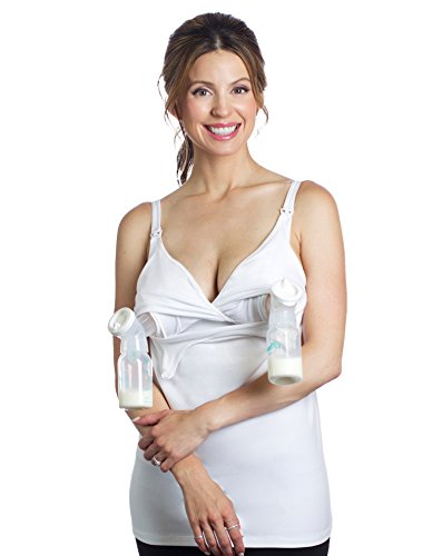 Essential Pump&Nurse Tank, a All-in-one Hands-Free Pumping and Nursing Bra for All Breast Pumps - Medela, Spectra, Lansinoh, Philips Avent, Ameda, etc - White, XL