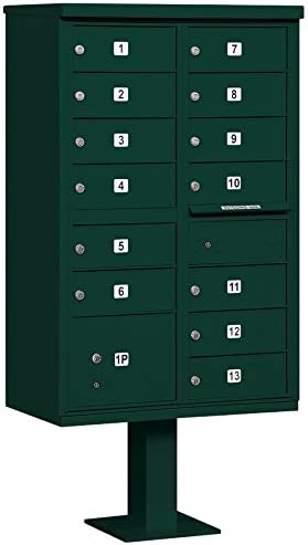 13 B Size Doors Black Salsbury Industries 3313BLK-P Cluster Box Unit with Pedestal and Master Locks Type IV