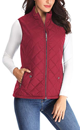 (MISS MOLY Women Lightweight Quilted Padded Vest Stand Collar Zip Up Front Gilet Quilted,Red,Large)