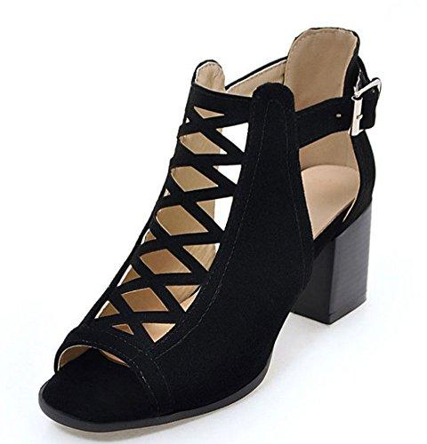 Easemax Donna Sexy Faux Suede Ritaglio Peep Toe Metà Tacco Grosso Cinturino Alla Caviglia Sandali Avvolgere Nero