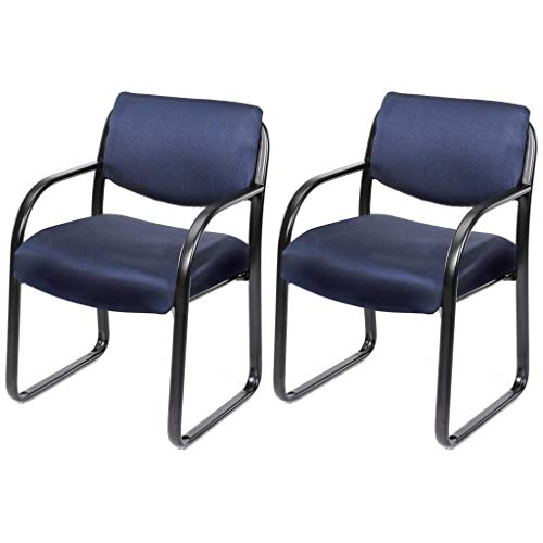 Contemporary Design Commercial Grade Guest Chair Durable Contoured Cushions Curved Armrest Thick Waterfall Edge Seats Polished Tubular Steel Frame Home Office Furniture - Set of 2 Navy Fabric #2046