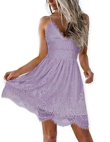 AOOKSMERY Women Summer V-Neck Spaghetti Straps Lace Backless Mini Party Club Beach Dresses (Lavender, X-Small)