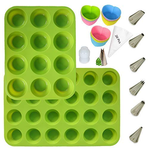 Silicone Muffin Pan Bpa Free (100%) Cupcake Baking Cups Mini 24 & 12 Regular size Muffin Tin Silicone Molds Set - Bonus 12 Heart cupcake liners, 7 icing tips, 20 bags.100% Guaranteed Healthy Silicone