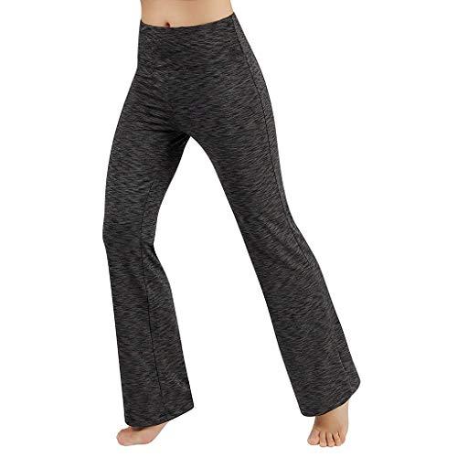 (Sunyastor Women Boot Cut Yoga Pants Stretch Bootleg High Waisted Tummy Control Workout Leggings Long Bootleg Flare Pants (Gray, Small) )