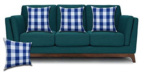 (Buffalo Plaid Cushion Cover 18x18 Inch Royal Blue/white, Decorative Pillow Cases, Farmhouse Pillow Cover,Decorative Throw Pillow Cover,Couch Pillow Cases ,Sqare Cushion cover for Sofa Set Of 4)