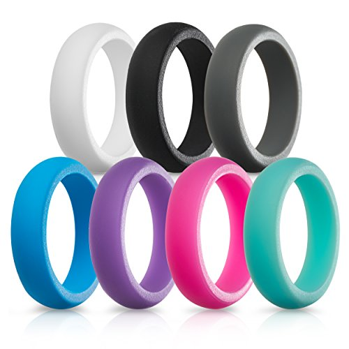 (Silicone Wedding Rings for Women - 7 Pack (White Black Gray Blue Purple Pink Teal, 5.5-6 (16.5mm)))