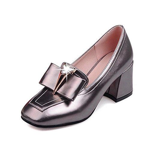VogueZone009 Damen Ziehen auf PU Leder Quadratisch Zehe Mittler Absatz Rein Pumps Schuhe Grau