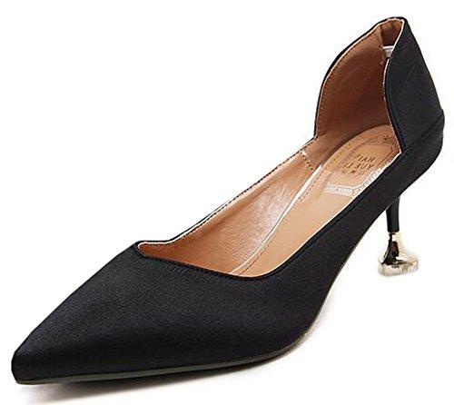 Idifu Womens Mi Mi Chaton Talons Bout Pointu Slip Sur Les Chaussures De Pompe Noir