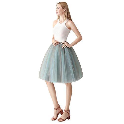 ShowYeu Femmes Rockabilly A-Ligne Tutu Tulle Jupe Robe de Fte Mi-Mollet Vintage Jupon Party Dress Balle De Bal Petticoat Gris & Sky Bleu
