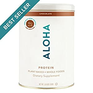 ALOHA Organic Plant Based Protein Powder, Stevia Free, Chocolate, 19.6 oz, 15 Servings