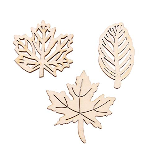 Amosfun 20Pcs Unfinished Wood Cutouts Decorative Wooden Maple Leaves Hollow Out Wood Pieces Crafts for DIY Crafting Ornament Decoration (Burlywood)