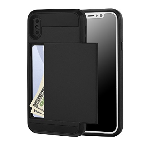 iPhone x Case, Crosspace iPhone10 Wallet Card Holder Defender Bumper Soft Rubber Hard PC Back Hybrid [Dual Layer] Shockproof Slide Cover Flexible Protective with Card Slots for Apple iPhone 10-Black