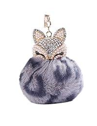 heaven2017 Fox Pattern Keychain Rhinestone Faux Fur Fluffy Pom Pom Ball Women Key Chain Key Ring for Bag Purse Charm
