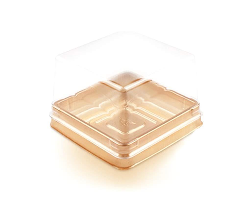 Hewnda 50 pieces 2.6'' of transparent plastic mini cake box muffins box cookies cookies muffins dome box wedding birthday gift box (100g gold)