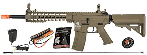 UKARMS Lancer Tactical M4 KEYMOD AEG Field Metal Gears Airsoft Gun Rifle w/ 9.6v Battery & Charger (Tan High Velocity)