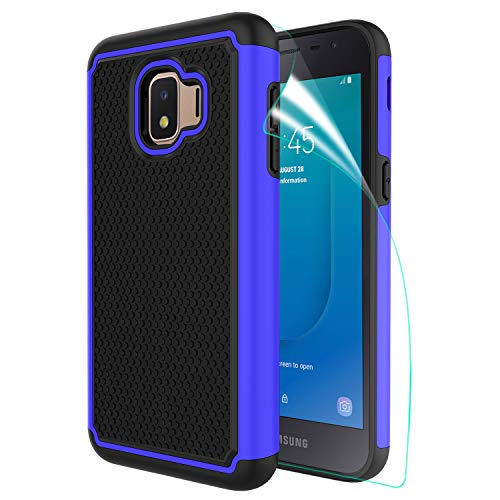 Innge for Samsung Galaxy J2 Case,J2 Core Case, Galaxy J2 Dash Case, Galaxy J2 Pure Phone Case with HD Screen Protector,[Shockproof][Anti-Scratch] Dual Layer Armor Defender Protective Case Cover,Blue