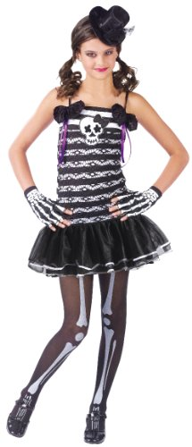 Fun World Girls Skeleton Cute Goth Kids Halloween Costume M (Cute Scary Halloween Costumes)