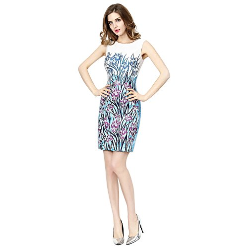 Embroidered Floral Women's Cocktail Sheath Dress DEZZAL White Sleeveless Eztqzw