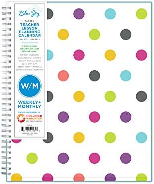 "Blue Sky 2021-2022 Academic Year Teachers Weekly & Monthly Lesson Planner, 8.5"" x 11"", Flexible Cover, Wirebound, Dots (100330-A22)"