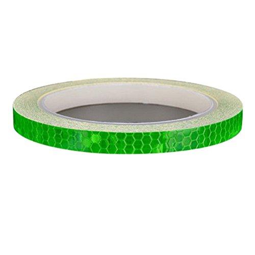 Dofover MTB Road Bike Bicycle Cycling Wheel Rim Light Reflective Stickers DIY Reflective Warning Stripe Decal for Bike - 8M (Green)