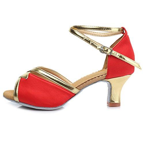 HROYL Mujer Zapatos de Baile Latino Satén Salón de Baile 225 Rojo