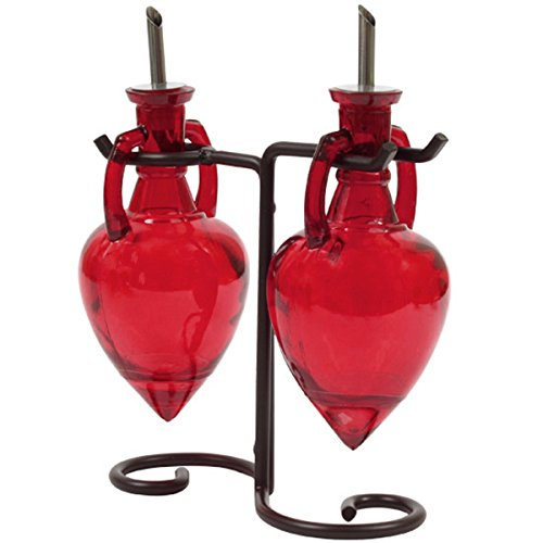 Oil Dispensing Cruets, Dish Soap Dispensers or Kitchen Oil Bottles G10M Red Amphora Style Glass Bottle Set with Stainless Steel Pour Spouts, Corks & Powder Coated Black Metal Vintage Swirl Rack