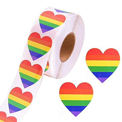 500 Pieces Gay Pride Stickers, Love Rainbow Stickers Roll in Heart-Shaped, 6 Colors Stripes Heart Shaped Roll Tape