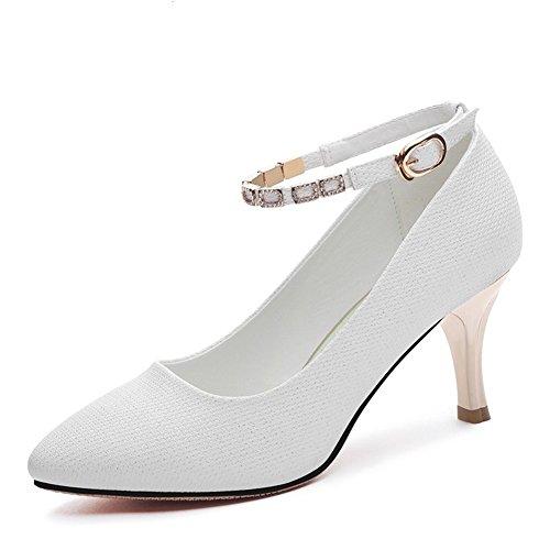 38 Fine Pointu Peu Profonde Strass Basses Haut Chaussures Pour Bouche Blanc Mode Boucle Femmes Simples Talon qtAtwZFv