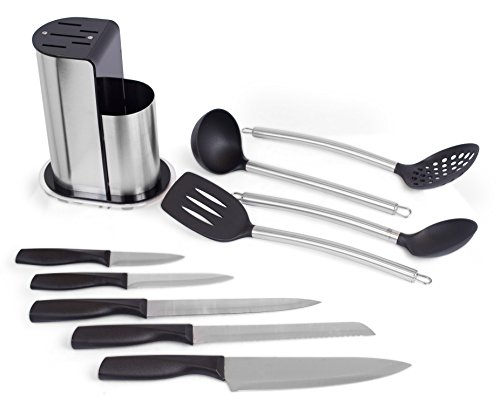 Internet's Best Stainless Steel Knife and Kitchen Tools Set   Skimmer Ladle Spatula Serving Spoon   5 Knives with Holder Organizer Review