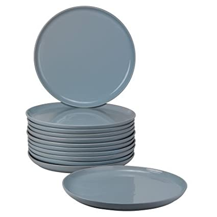 Sophisticated Modern Double Line Catering Pack Set of 12 Light Blue Dinner Plates \u2026  sc 1 st  Amazon.com & Amazon.com | Sophisticated Modern Double Line Catering Pack Set of ...
