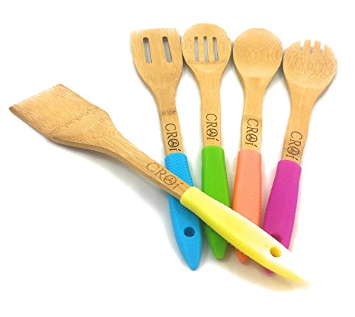 Bamboo Kitchen Utensils With Silicone Handles: 5 Piece Set Bamboo Cooking Spatula Kitchen Tools. Eco - Friendly Non Stick Utensils.
