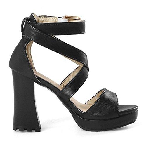 Toe Chaussures TAOFFEN Chunky Black Sandales Peep Sangle Femmes Croisée qxxYzwEF